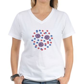 Women's V-Neck T-Shirt With Red-Blue Balls