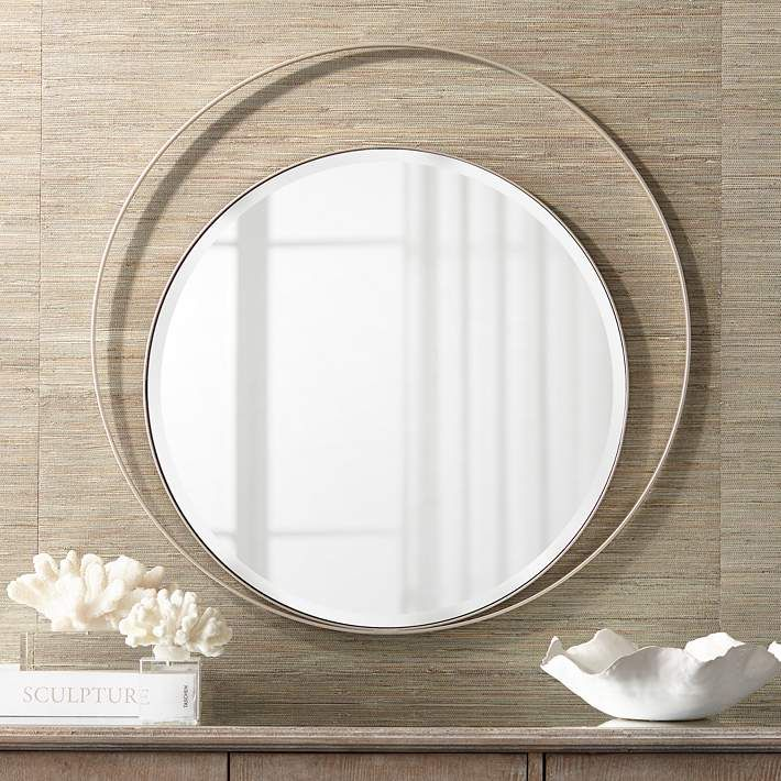 Possini Euro Keri 31 1 2 Silver Asymmetrical Wall Mirror 66e22 Lamps Plus Mirror Wall Mirror Wall Bedroom Mirror Decor Living Room