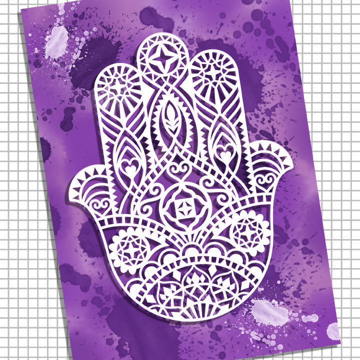 'Hamsa Hand' Paper cutting template. Commercial use.