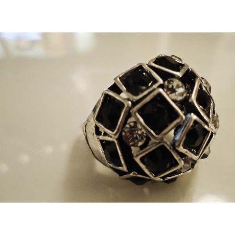 Ring Black Enamel Squares