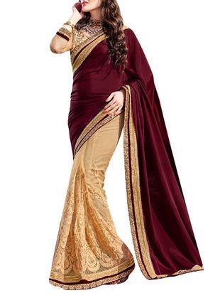 maroo , beige satin chiffon and net half  saree - Online Shopping for Sarees