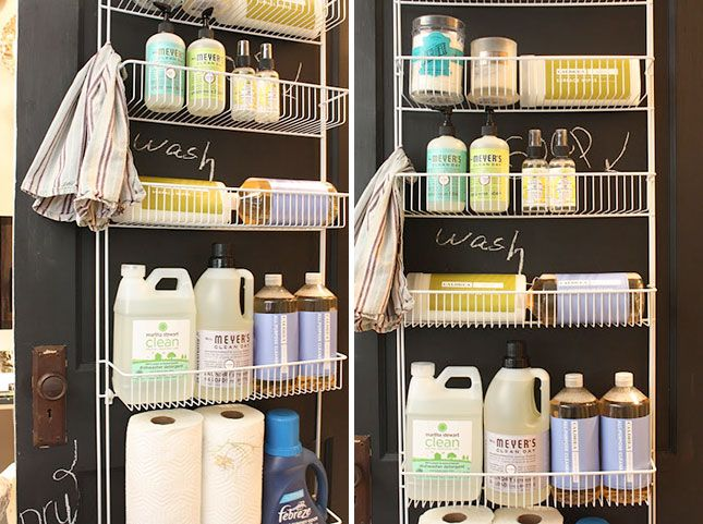 Transform the back of your laundry room door into storage space with some hanging wire shelves.