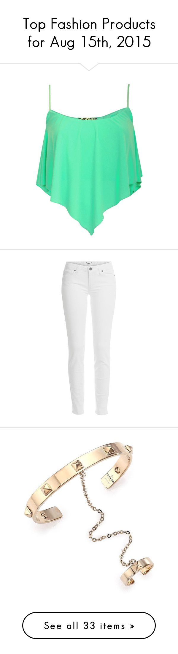 """""""Top Fashion Products for Aug 15th, 2015"""" by polyvore ❤ liked on Polyvore featuring tops, shirts, crop tops, tank tops, mint green shirt, cropped cami, shirt crop top, green shirt, mint crop top and bags"""