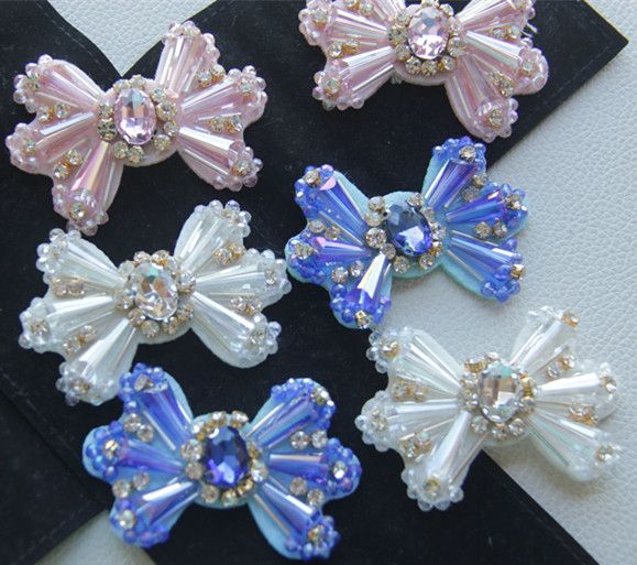 butterflytie rhinestones bead patches, sew on patches for clothing parches termoadhesivos para ropa apliques de roupa