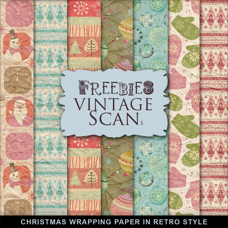 Downloadable digital retro Christmas wrapping paper