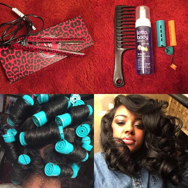 """Step one: I blow dry & Flat iron my hair.  Step two: I section my hair & apply @lovelottabody •Wrap me foaming Mousse. I use Green perm rods & about 3…"""