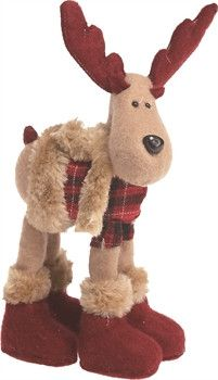 """Plaid Moose animal. Moose not suitable as a toy for children. Dimensions: 4.25"""" L x 3.75"""" W x 9"""" H"""