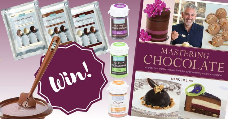 Win a signed copy of Mastering Chocolate, SK Belgian Couverture Chocolate (Dark, Milk, White), SK Professional Food Colours (Violet, Fern, Copper) and a Silikomart Silicone Spatula with Thermometer.