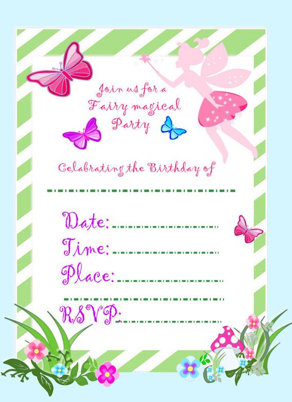 Best 25 Fairy invitations ideas – Printed Birthday Invitations