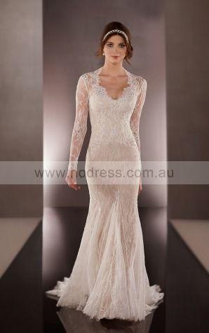 Sheath Scoop Empire Long Sleeves Floor-length Wedding Dresses wes0178