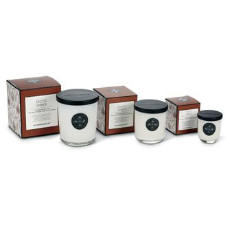 Exotic Amber Aromabotanicals scented candles, available in three sizes