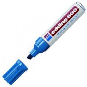 Rotulador permamente Edding 500 color Azul. Punta sintética, tinta de secado rápido. Resistente a la luz, al roce y al agua. Sin olor.