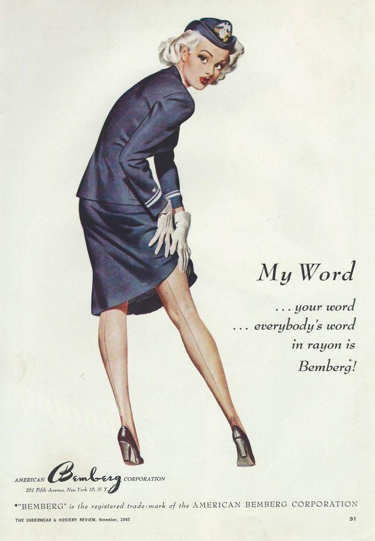 1945 WAC Bemberg Stockings Color Ad