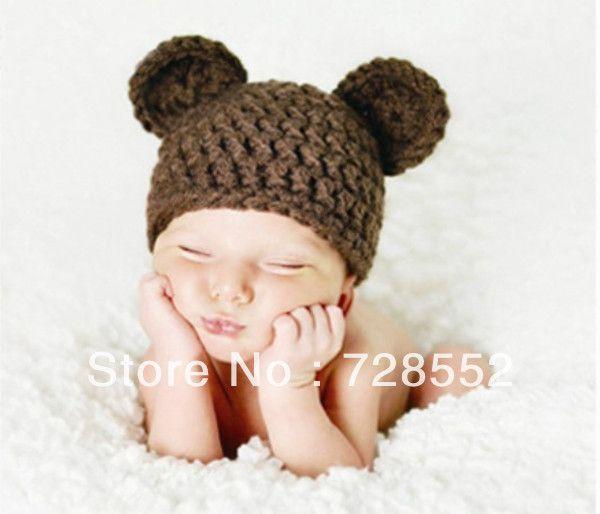 gratis verzending massief schattige beer stijl met de hand gehaakt fotografie rekwisieten pasgeboren baby hoed