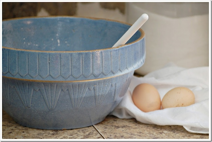 old blue bowl and fresh farm eggs