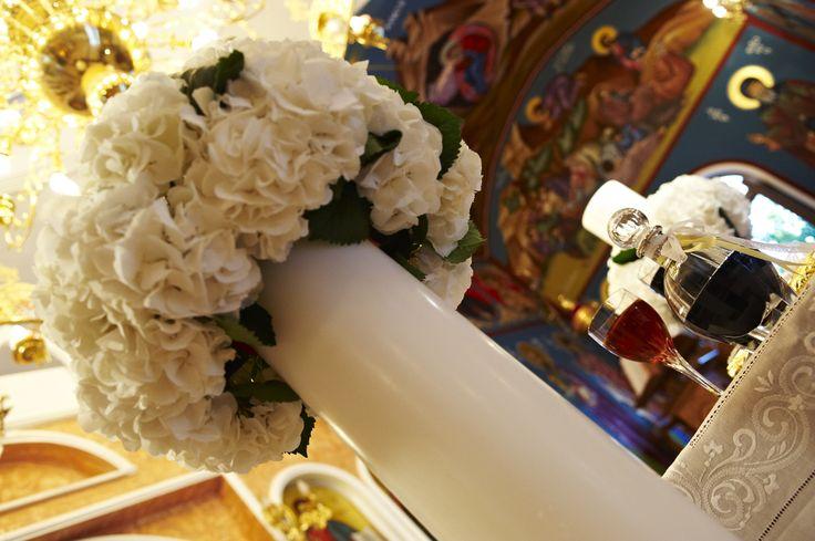 στολισμος  λαμπαδας  γαμου με ορτανσια