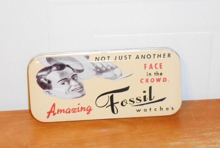1991 Another Face in the Crowd Fossil Watches Metal Tin Watch Box NO WATCH  #Fossil