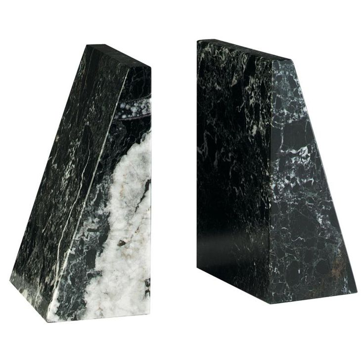 Black Zebra Tapered Marble Bookends Bookends Marbles