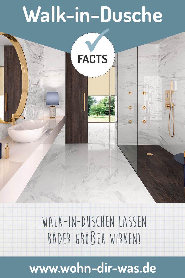 Du träumst von einer modernen Walk-in-Dusche. Wir haben einige Tipps für dich gesammelt. Inspiration und Ideen zum Thema Bad-Planung und Bad-Kosten findest du auf www.wohn-dir-was.de  Bildmaterial (c) Deutsche Fliesen / Steuler