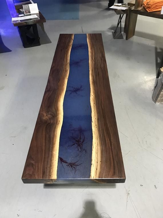 Blue Epoxy Resin Custom Table With Walnut Live Edge Etsy Resin Furniture Resin Patio Furniture Backyard Furniture