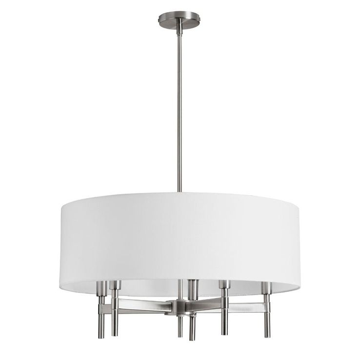 5LT Chandelier w/WH Linen Drum Shade : 7WAMX | Richardson Lighting