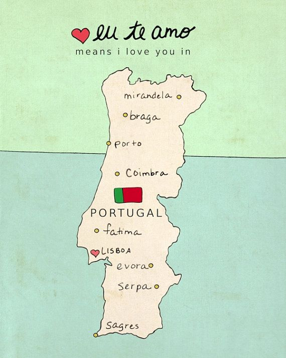 I Love You in Portugal // Typographic Poster, Portuguese Map, Modern Baby Nursery Decor, Illustration, European Map, Travel Theme, Digital on Etsy, $18.00