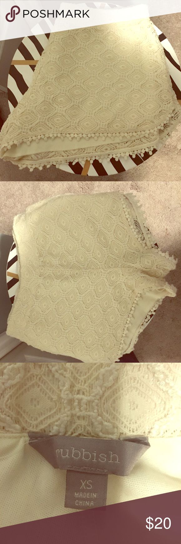 Cream Lace Shorts Lace shorts bought at Nordstrom. They look super cute with black or navy tops :))) Rubbish Shorts