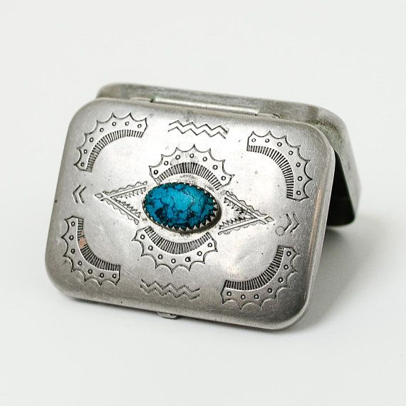 Vintage Navajo Silver and Turquoise Pill Box by dappr on Etsy, $135.00