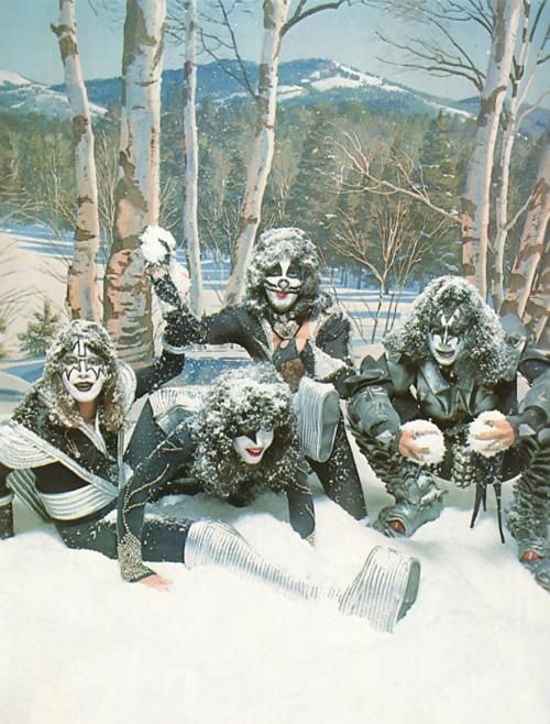 You wanted the best, you got the best, the coolest band in the world...KISS, frolicking in the snow.