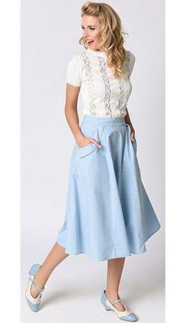 Collectif 1940s Dusty Blue High Waist Theodora Swing Skirt