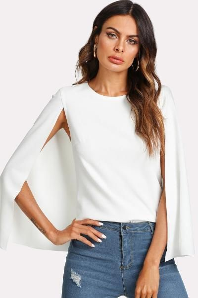 d84ab91920 White Keyhole Back Cloak Sleeve Blouse in 2019 | Trendy tops | Shirt ...