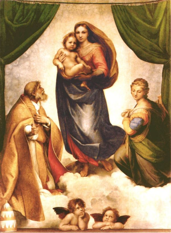 "Perhaps the most beloved of all Raphael paintings, ""Sistine Madonna"" is well known for the mischievous angels in the foreground."