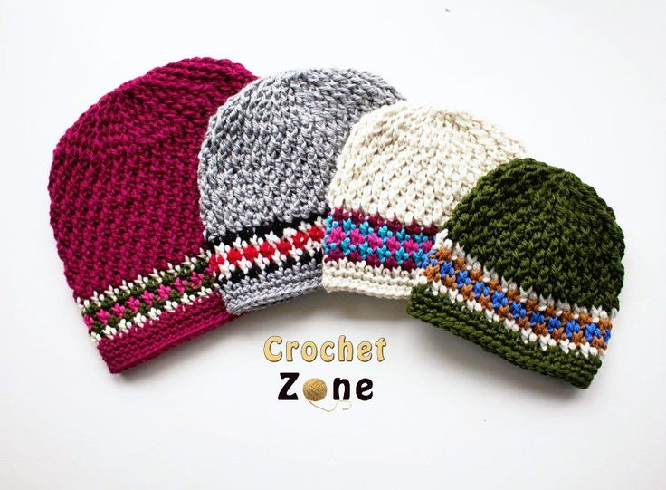 Knock Around Crochet Hat ~ this beanie has a knit-look but don't let it fool you - it is crochet ~ textured stitch for main body & a fair-isle look for he band makes it look great ~ sizes 3 mos. to adult so make one for baby & one for Dad ~ FREE CROCHET pattern