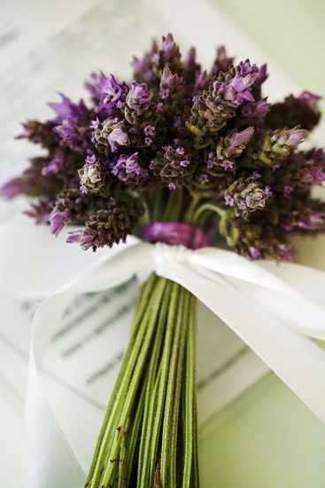 A lavender bouquet will smell good all day long and keep longer than flowers. Kinda love this idea