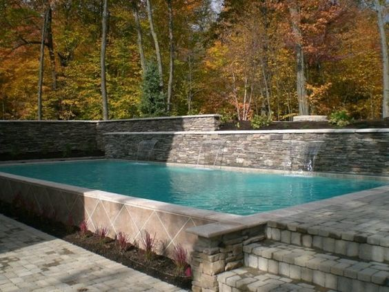 fiberglass rectangle plunge pool 2 feet above ground with stone surround google search