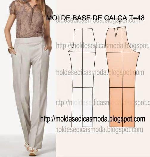 Moldes Moda por Medida: MOLDE BASE DE CALÇA TAMANHO 48