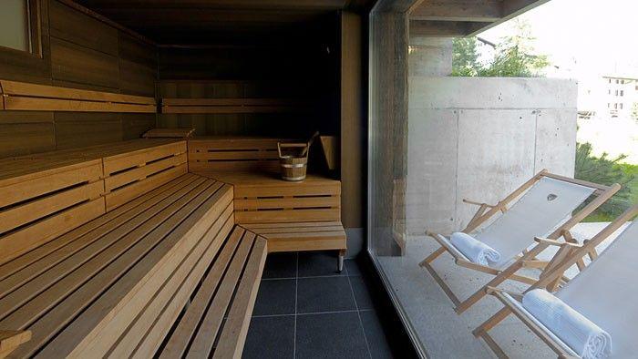 Klafs sauna with big window at Cervo Zermatt