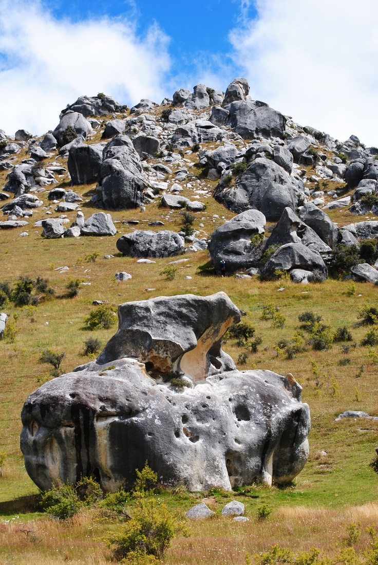 Castle Hill - Arthurs Pass Rd, New Zealand. Limestone Rock Formations.  Photo - Claire Lambert
