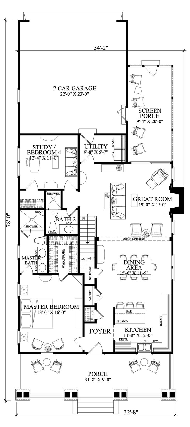 I just want the first floor.  First Floor Plan of Bungalow   Cottage   Craftsman   Farmhouse  House Plan 86121