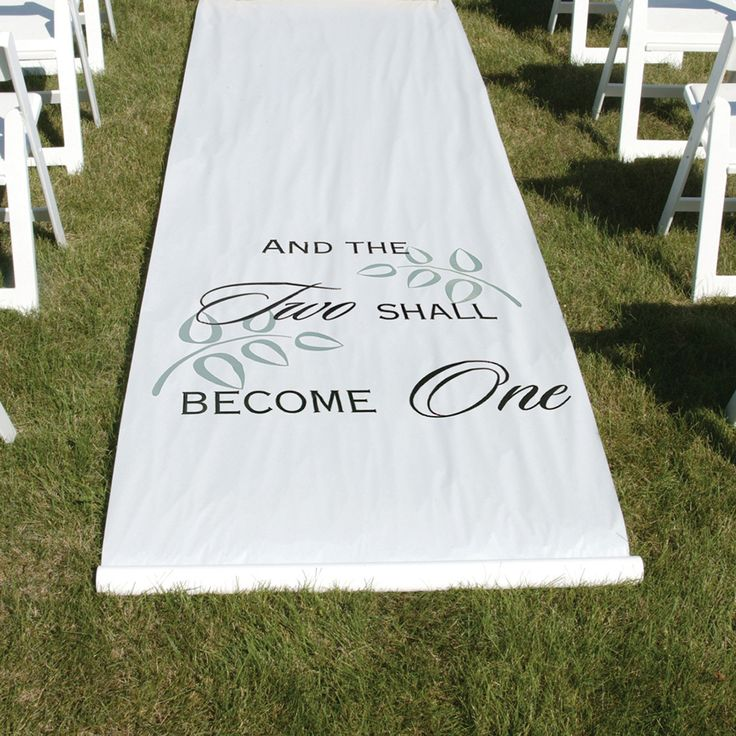 "White or black fabric aisle runner features ""And The Two Shall Become One"" design in black or white. Leaves are printed in white or grey. 36"" x 100"" long with p"