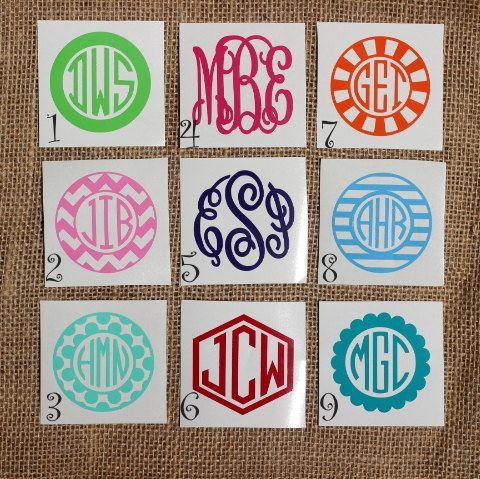 Monogram Sticker Monogram Decal  Car by PricklyPearsCompany