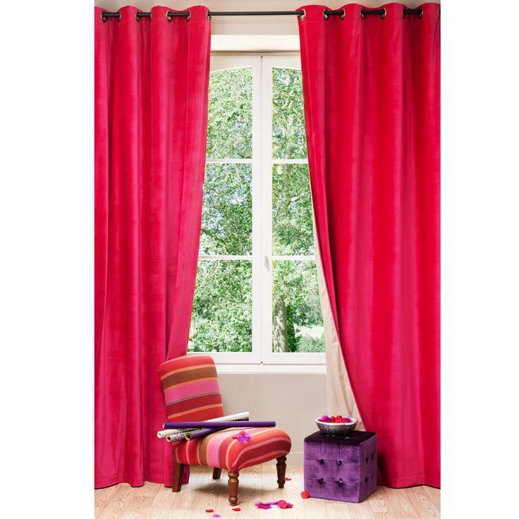Velvet/linen double sided eyelet curtain in fuchsia and beige 140 x 300cm