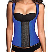 Ann Chery Womens 3 Hooks Body Shaper Latex Sport Vest Shapewear, Blue L/36