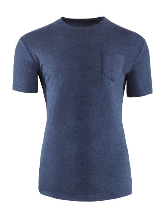 T-shirt made of breathable cotton, with a pocket on the chest, which gives it a trendy look.   Benefits: -soft touch fabric -comfortable movement -practical and fashionable in the same time