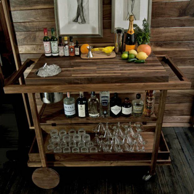 Luxury Rustic Wood Bar Cart