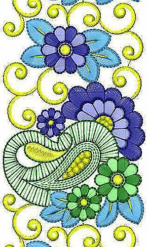 Beautiful Paisley Embroidery Border Lace Design