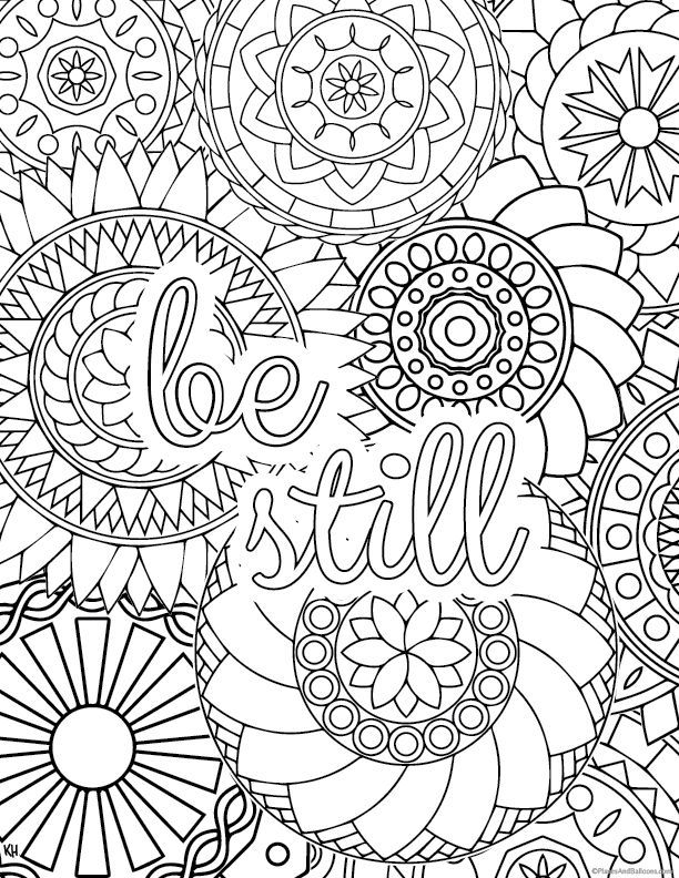 Stress relief coloring pages to
