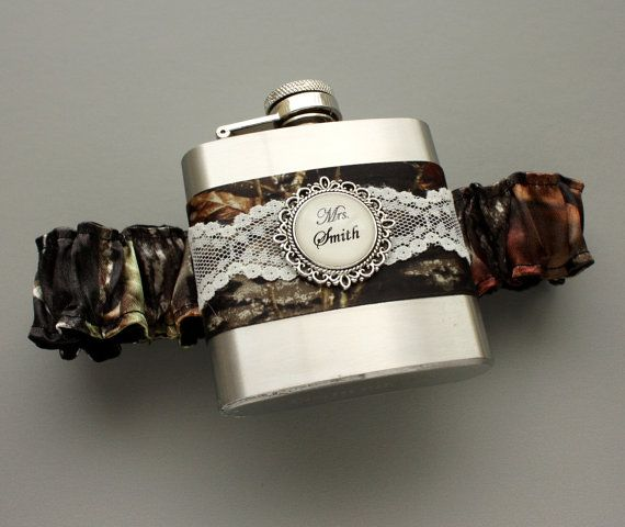Camouflage FLASK GARTER  Personalized Camo & by MoonshineBelle, $40.00