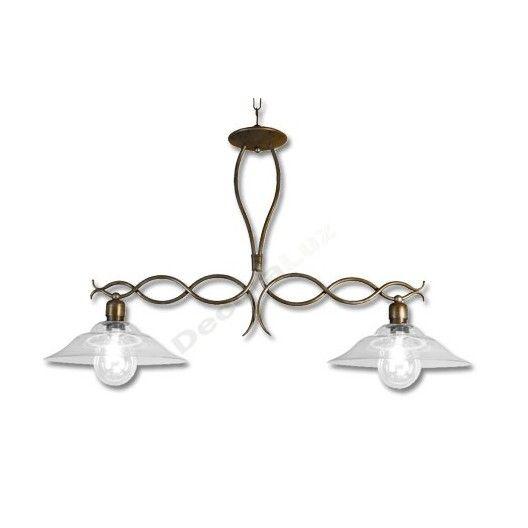 L mpara r stica de forja con dos tulipas de cristal - Tulipas de lamparas ...