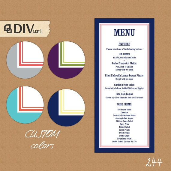 "PRINTABLE 4x9"" Wedding Menu, Rehearsal Dinner Menu - navy blue and pink, nautical or CUSTOM colors - 244 by DIVart"